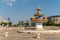 The Water Fountain In Union Square (Piata Unirii) Royalty Free Stock Photography