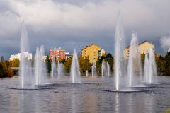 Water fountains. On an autumn day in Oulu, Finland Stock Photography