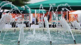 Water fountains 4k stock video footage