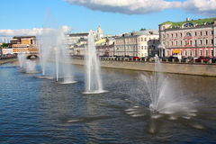 Water fountains in the middle of the river Royalty Free Stock Images
