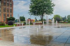 Water fountains in old town of Elblag. Stock Image