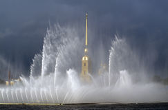 Water Fountains and the Spire of Peter and Paul Cathedral.St Pet Royalty Free Stock Photo