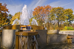Water Fountian in Fall Stock Photos