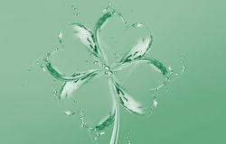 Water Four-Leaf Clover. A green four-leaf clover made of water for Saint Patricks Day Royalty Free Stock Photos