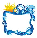 Water frame with sun. Abstract water background with place for your text Royalty Free Stock Photo