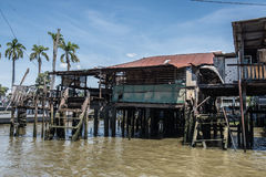 Water Front Houses on Chao Phraya Stock Image