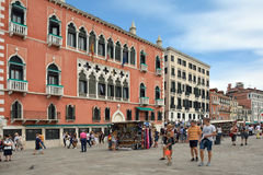 Water front Riva degli Schiavoni in Venice - Italy. Royalty Free Stock Images