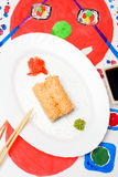 Water Fud art. Japanese sushi on a white plate Royalty Free Stock Photos