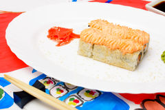 Water Fud art. Japanese sushi on a white plate Stock Photo