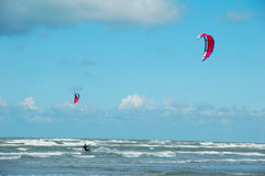 Water fun. Kitesurfing on the North sea in Belgium Royalty Free Stock Images