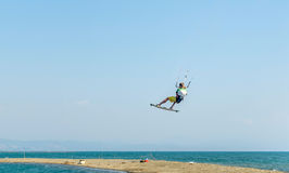 Water fun and kiteboarding  in Ada Bojana, Montenegro Royalty Free Stock Images