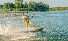 Water fun and kiteboarding  in Ada Bojana, Montenegro Royalty Free Stock Photography