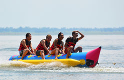 Water funnny sports banana boat Stock Photo