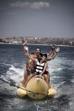 Water funnny sports-banana. Stock Photo