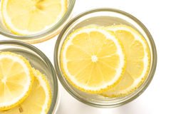 Water galss with lemon Stock Photography