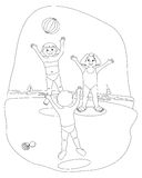 Water games (image in black and white to color). Illustration that depicts three boys while playing ball on the beach - image black and white coloring (coloring Stock Photography