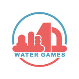 Water Games logo. Emblem for Inflatable park attraction Royalty Free Stock Photography