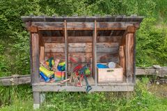 Water games on a themed hiking trail, Austria stock photo