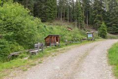 Water games on a themed hiking trail, Austria stock photography