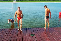 Water games of young sportsmens Royalty Free Stock Photo