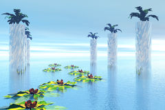 Water garden. Abstract nature with water garden Stock Illustration