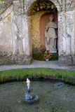 The Water Garden at the Castle of Hellbrunn in Salzburg in Austria with its many `trick` fountains Stock Photo