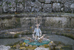 The Water Garden at the Castle of Hellbrunn in Salzburg in Austria with its many `trick` fountains Stock Image