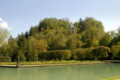 The Water Garden at the Castle of Hellbrunn in Salzburg in Austria with its many `trick` fountains Stock Photography