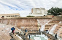 Water Gardens in downtown Fort Worth with visitors. FORT WORTH, TX, US-DEC 24, 2018:Water Gardens in downtown Fort Worth with visitors. A beautiful and stock images
