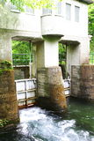 A Water Gate. In the Oirase-gawa River Stock Image
