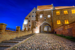 Water gate in Grudziadz city at night Royalty Free Stock Image