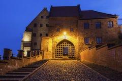 Water Gate in Grudziadz at night. Water Gate in  Grudziadz at night Grudziadz, Kuyavian-Pomeranian Voivodeship, Poland Royalty Free Stock Photos