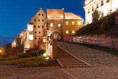 Water gate at night in  Poland Royalty Free Stock Images