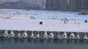 Water gate. Winter lock open, water flow, the dam has frozen BingLiu stock footage
