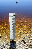 Water gauge in drying lake. Water level gauge in lake indicating low water levels Royalty Free Stock Photo
