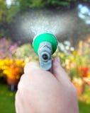 Water gevende de tuinbloemen van de slangpijp Stock Fotografie