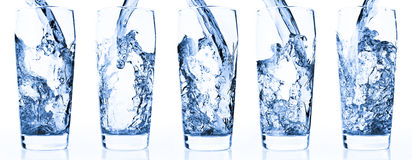 Water in glass. Isolated on white - five shots combo Stock Images
