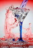 Water and glass. Movement of water is frozen by means of flash Royalty Free Stock Images