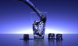 Water Glass. 3d render of water pouring into an ice-filled glass Stock Photo