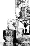 Water Glass And Ice Cubes Stock Photography