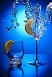 Water glass blue lemon objekt clean Royalty Free Stock Photos