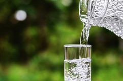 Water  into glass on green nature Royalty Free Stock Photography