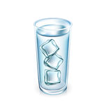 Water glass with ice cubes isolated Stock Photography