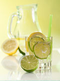 Water in the glass with ice cubes Stock Photos