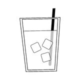 Water glass icon. Water glass with ice cubes over white background. vector illustration Royalty Free Stock Photo