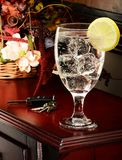 Water glass and lemon stock photo