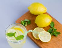 Water in a glass with lemon and oregano leaves,a refreshing soft drink to quench your thirst in the heat and maintain tone. / royalty free stock photography