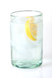 Water In Glass With Lemon Wedge Stock Photos