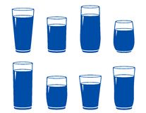 Water glass set. Isolated water glass set on white background Royalty Free Stock Photography
