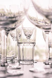 Water glass on the shelves , Drinking water container, Empty wat Royalty Free Stock Photo